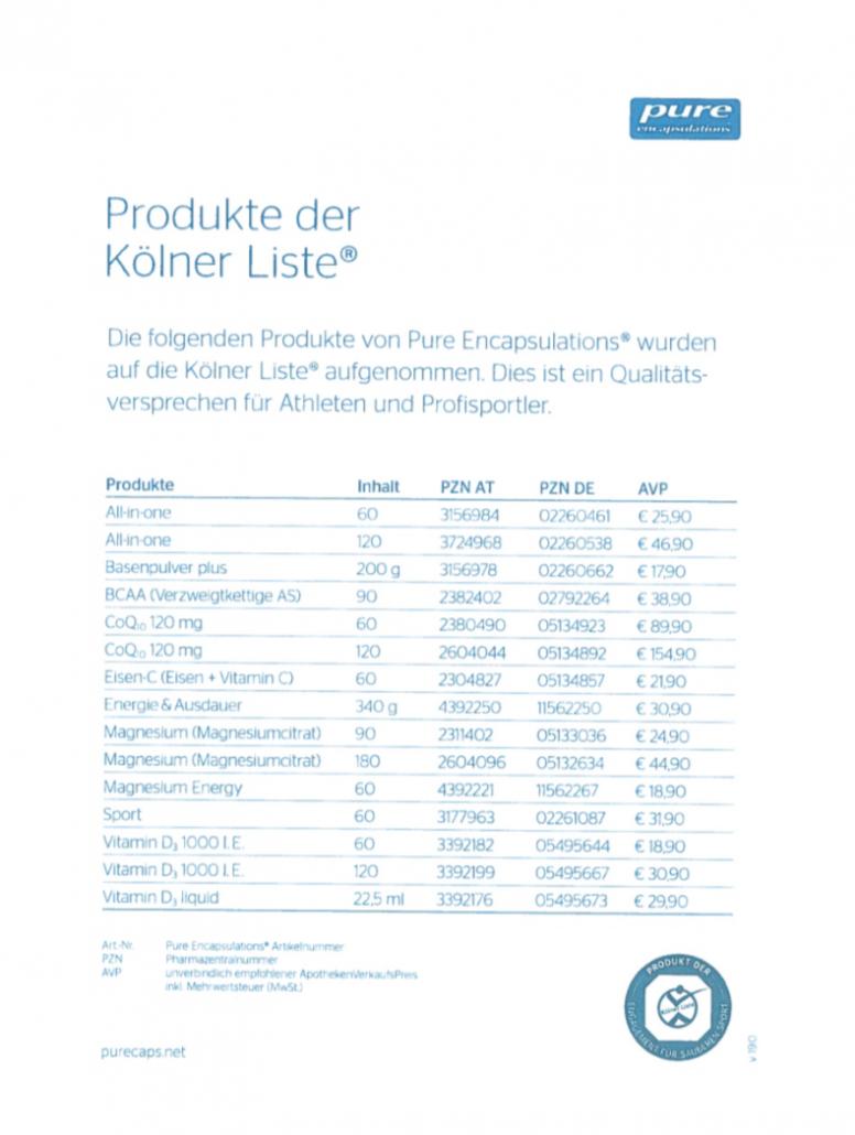 Pure Encapsulations auf der Kölner Liste
